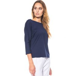 Bluzki asymetryczne: Granatowa bluzka z dzianiny BIALCON