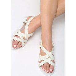 Białe Sandały Pheasant. Białe sandały damskie Born2be, z materiału, na obcasie. Za 79,99 zł.