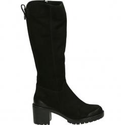 Kozaki - 04102114 BLAC. Czarne buty zimowe damskie Venezia, z nubiku. Za 499,00 zł.