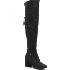 Muszkieterki BIG STAR - BB274517  Black. Czarne buty zimowe damskie BIG STAR, z materiału, przed kolano, na wysokim obcasie, na obcasie. W wyprzedaży za 179,00 zł.