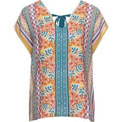 Bluzki damskie: Bluzka z ozdobnym elementem na plecach bonprix niebiesko-żółty wzorzysty
