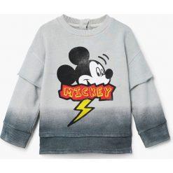 Mango Kids - Bluza dziecięca Mickey 80-104 cm. Szare bejsbolówki męskie Mango Kids, z nadrukiem, z bawełny, bez kaptura. Za 69,90 zł.