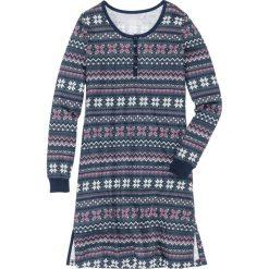 Koszula nocna z długim rękawem bonprix nocny niebieski z nadrukiem. Niebieskie koszule nocne i halki bonprix, z nadrukiem. Za 49,99 zł.