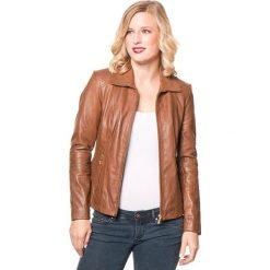 Bomberki damskie: Skórzana kurtka w kolorze jasnobrązowym