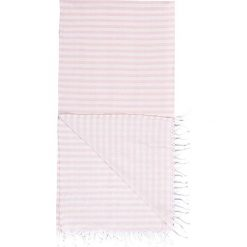 Kąpielówki męskie: Chusta hammam w kolorze jasnoróżowo-białym – 180 x 100 cm