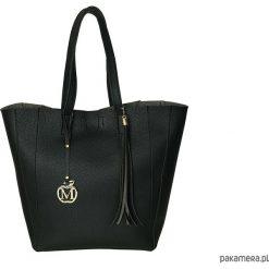 Shopper bag damskie: MANZANA DUŻA TORBA KLASYCZNA 2W1 czarna matowa