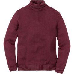 Sweter z golfem Regular Fit bonprix bordowy melanż. Czerwone golfy męskie marki bonprix, l, z aplikacjami, ze skóry. Za 109,99 zł.