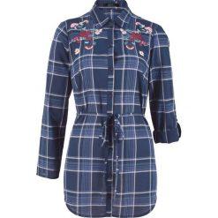 Bluzki damskie: Długa bluzka z haftem bonprix ciemnoniebieski w kratę