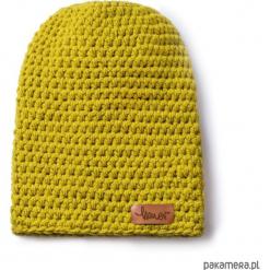 Czapka dziana KRAFF MUSTARD handmade. Żółte czapki zimowe damskie Pakamera, z dzianiny. Za 109,00 zł.