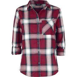 Sublevel Ladies Checkered Shirt Bluzka damska bordowy/biały. Białe bluzki longsleeves Sublevel, l, z koszulowym kołnierzykiem. Za 99,90 zł.