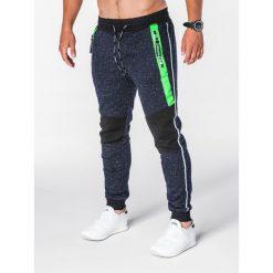 SPODNIE MĘSKIE DRESOWE P639 - GRANATOWE. Niebieskie spodnie dresowe męskie marki Ombre Clothing, z bawełny. Za 55,00 zł.