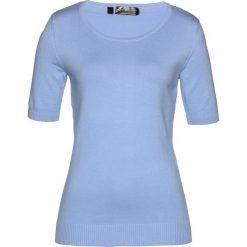 Sweter, krótki rękaw bonprix perłowy niebieski. Niebieskie swetry klasyczne damskie marki bonprix, z nadrukiem. Za 49,99 zł.