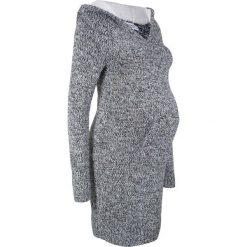 Sukienka dzianinowa ciążowa z kapturem z podszewką bonprix czarno-biały melanż. Szare sukienki ciążowe marki bonprix, melanż, z dzianiny, z kapturem, moda ciążowa, dopasowane. Za 109,99 zł.