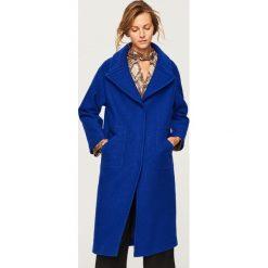 Wełniany płaszcz - Niebieski. Niebieskie płaszcze damskie wełniane marki Reserved. Za 499,99 zł.