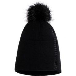 Czapki damskie: Czarna czapka z futrzanym pomponem QUIOSQUE