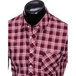 KOSZULA MĘSKA W KRATĘ Z DŁUGIM RĘKAWEM K419 - BORDOWA. Zielone koszule męskie na spinki marki Ombre Clothing, na zimę, m, z bawełny, z kapturem. Za 49,00 zł.