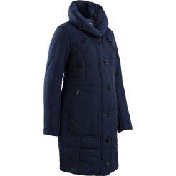 Krótki płaszcz pikowany ciążowy bonprix ciemnoniebieski. Niebieskie kurtki ciążowe marki bonprix, z materiału, z dekoltem w serek. Za 249,99 zł.