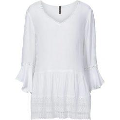 Bluzka z szydełkową wstawką bonprix biały. Białe bluzki asymetryczne bonprix. Za 109,99 zł.