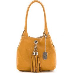 Torebki klasyczne damskie: Skórzana torebka w kolorze jasnobrązowym - 23 x 18 x 10 cm