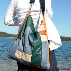 Torba łatka. Niebieskie torebki klasyczne damskie Pakamera, w geometryczne wzory, ze skóry. Za 240,00 zł.
