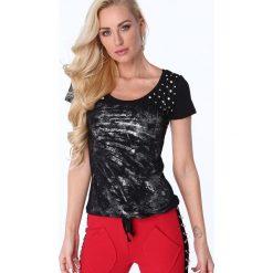 T-shirt z cyrkoniami czarny ZZ1069. Czerwone t-shirty damskie marki Fasardi, l. Za 47,20 zł.