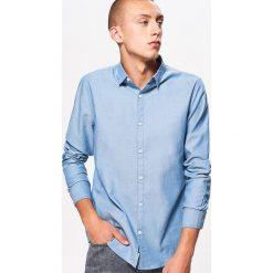 Gładka koszula slim fit - Niebieski. Niebieskie koszule męskie slim marki Reserved, m. Za 69,99 zł.