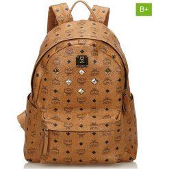 Plecaki damskie: Skórzany plecak w kolorze jasnobrązowym – 31 x 40 x 15 cm