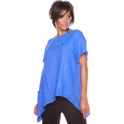 """Bluzki asymetryczne: Lniana koszulka """"Lev"""" w kolorze niebieskim"""