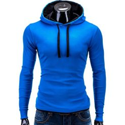 BLUZA MĘSKA Z KAPTUREM CAMILO - NIEBIESKO-CZARNA. Czarne bluzy męskie rozpinane marki Ombre Clothing, m, z bawełny, z kapturem. Za 49,00 zł.