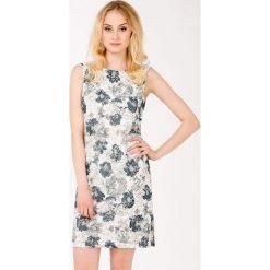 Sukienka z koronkowym wzorem. Szare sukienki balowe Monnari, na lato, w koronkowe wzory, z koronki, bez rękawów, mini. Za 135,60 zł.