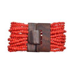 Bransoletki damskie na nogę: Bransoletka w kolorze czerwonym