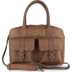 Torebki klasyczne damskie: Skórzana torebka w kolorze szarobrązowym – 37 x 26 x 13 cm
