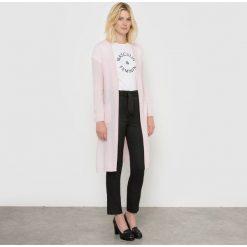 Długi, rozpinany sweter z kaszmiru. Szare kardigany damskie marki La Redoute Collections, m, z bawełny, z kapturem. Za 396,90 zł.