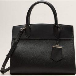Mango - Torebka Blanca. Czarne shopper bag damskie Mango, w paski, z materiału, duże. Za 139,90 zł.