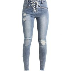 Missguided SINNER UP ZIP DETAIL SKINNY  Jeans Skinny Fit vintage blue. Niebieskie jeansy damskie Missguided. Za 179,00 zł.
