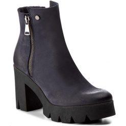 Botki EVA MINGE - Paloma 2C 17SM1372211EF 407. Niebieskie buty zimowe damskie Eva Minge, z nubiku, na obcasie. W wyprzedaży za 249,00 zł.