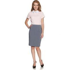 Bluzki damskie: Różowa Bluzka z Kontrastowym Kołnierzykiem
