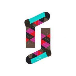 Skarpetki Happy Socks - Argyle (ARY01-8000). Szare skarpetki męskie Happy Socks, w kolorowe wzory, z bawełny. Za 34,90 zł.
