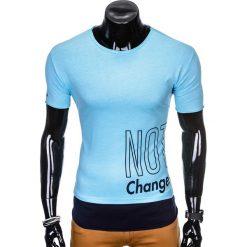 T-SHIRT MĘSKI Z NADRUKIEM S981 - BŁĘKITNY. Niebieskie t-shirty męskie z nadrukiem marki Ombre Clothing, m. Za 29,00 zł.