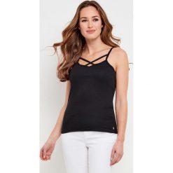 Bluzki damskie: Gładka koszulka z okrągłym dekoltem i cienkimi ramiączkami