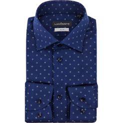 Koszula Granatowa w Kwiatki Hermina. Niebieskie koszule męskie na spinki marki LANCERTO, z bawełny. Za 299,90 zł.