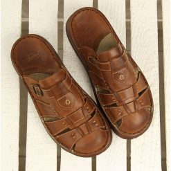 Klapki męskie: Skórzane brązowe klapki męskie komfortowe Łukbut 962