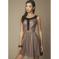 Sukienki: Brązowa Bardzo Kobieca Skórzana Sukienka