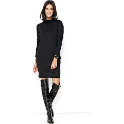 Czarna Codzienna Krótka Sukienka z Wysokim Golfem. Sukienki małe czarne marki Molly.pl, na co dzień, l, z golfem, z krótkim rękawem, proste. Za 113,90 zł.