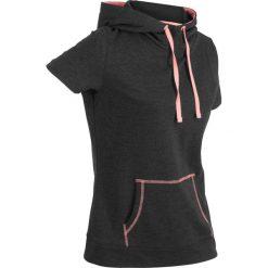 Bluzy rozpinane damskie: Bluza z krótkim rękawem bonprix czarno-łososiowy neonowy