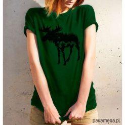 Koszulka damska - ŁOŚ. Różowe bluzki z egzotycznym wzorem Pakamera. Za 99,00 zł.