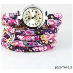 Zegarki damskie: Zegarek, bransoletka - Kwiaty różowe - owijany