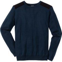 Sweter Regular Fit bonprix ciemnoniebieski. Niebieskie swetry klasyczne męskie bonprix, l, w prążki, z kontrastowym kołnierzykiem. Za 59,99 zł.