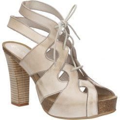 Sandały skórzane ażurowe Ana Roman 17343. Szare sandały damskie Ana Roman, w ażurowe wzory. Za 239,99 zł.