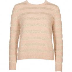 Sweter w kolorze beżowo-złotym. Brązowe swetry klasyczne damskie Gottardi, s, z wełny, z okrągłym kołnierzem. W wyprzedaży za 173,95 zł.